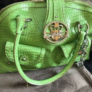 Green patten leather bag